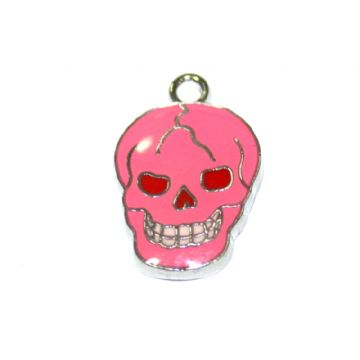 1pce x 16*12mm Rhodium plated pink skull enamel charms - S.D03 - CHE1194